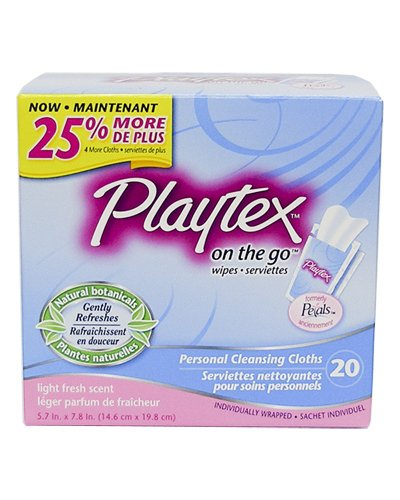 Playtex On-The-Go Flushable Personal Cleansing Cloths-20 ct