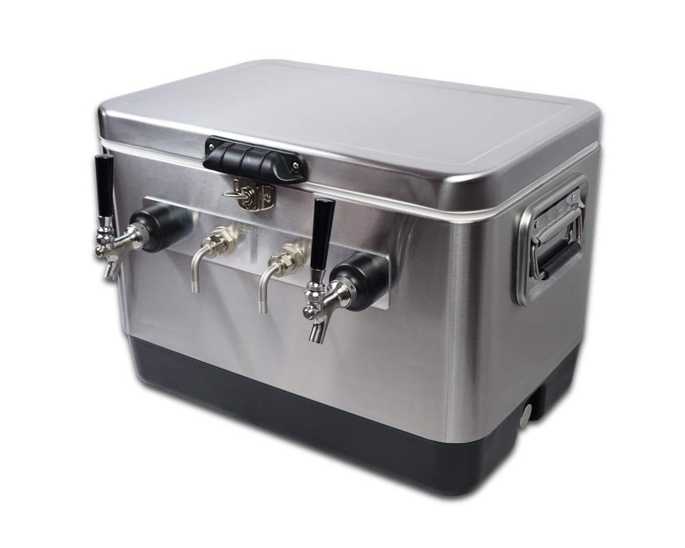 Coldbreak Jockey Box, 2 Taps, Stainless Bartender Edition, 54 Quart Cooler, 50' Coils, Stainless Steel Shanks, Includes Stainless Faucets by Coldbreak Brewing Equipment (Image #1)