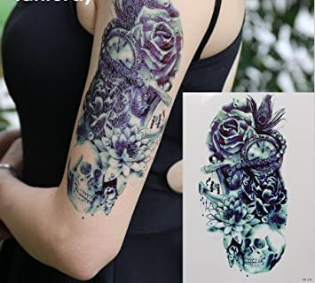 Männer Arm Tattoo Schwarz Fake Tattoo Totenkopf Mit Lotus Rosen
