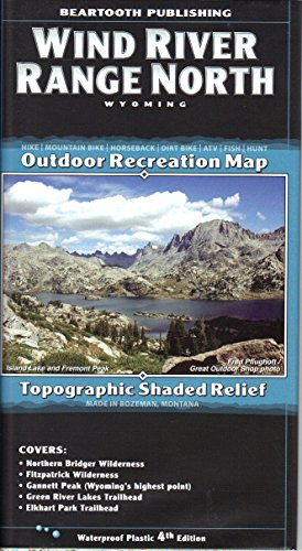 Wind River Range North, Wyoming Topographic Shaded Relief Outdoor Recreation Map by Beartooth Publishing