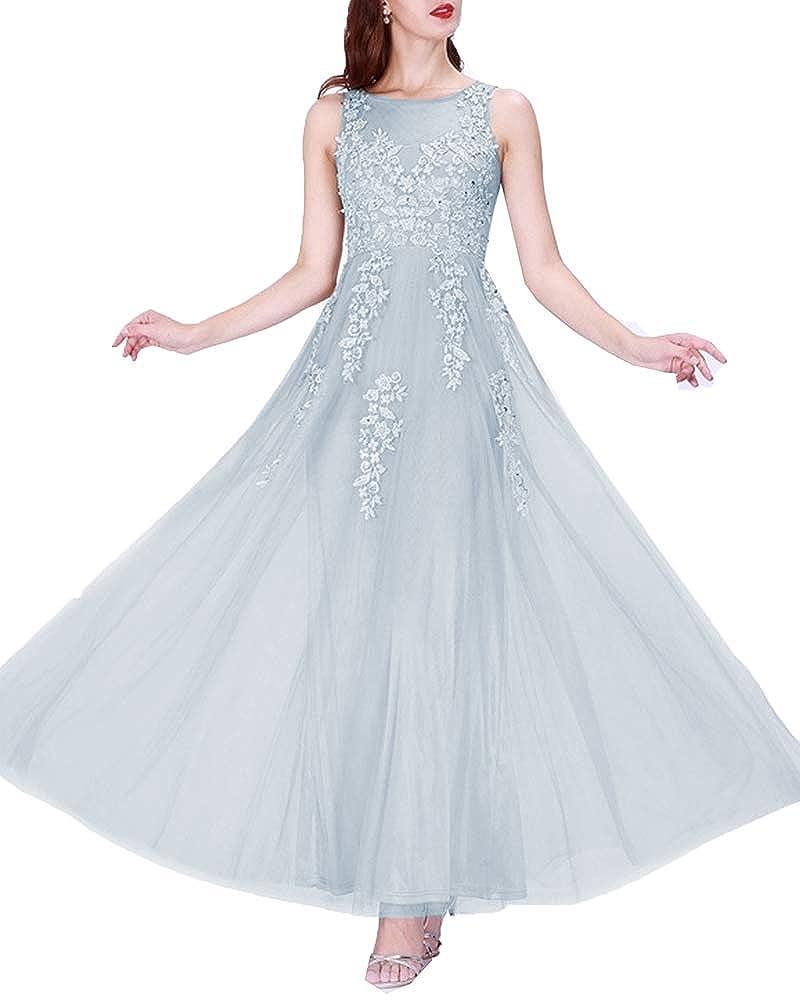 bluee Promworld Women's Lace Applique Evening Dress A Line Bridesmaid Dress Long Prom Dress