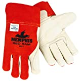 MCR Safety 4921 Red Ram Cow Leather Mig/Tig Welder Gloves with Wing Thumb, Brown/Cream, Large, 1-Pair