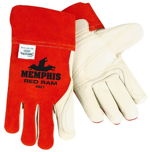 Tig Glove Welder Mig (MCR Safety 4921 Red Ram Cow Leather Mig/Tig Welder Gloves with Wing Thumb, Brown/Cream, Large, 1-Pair)