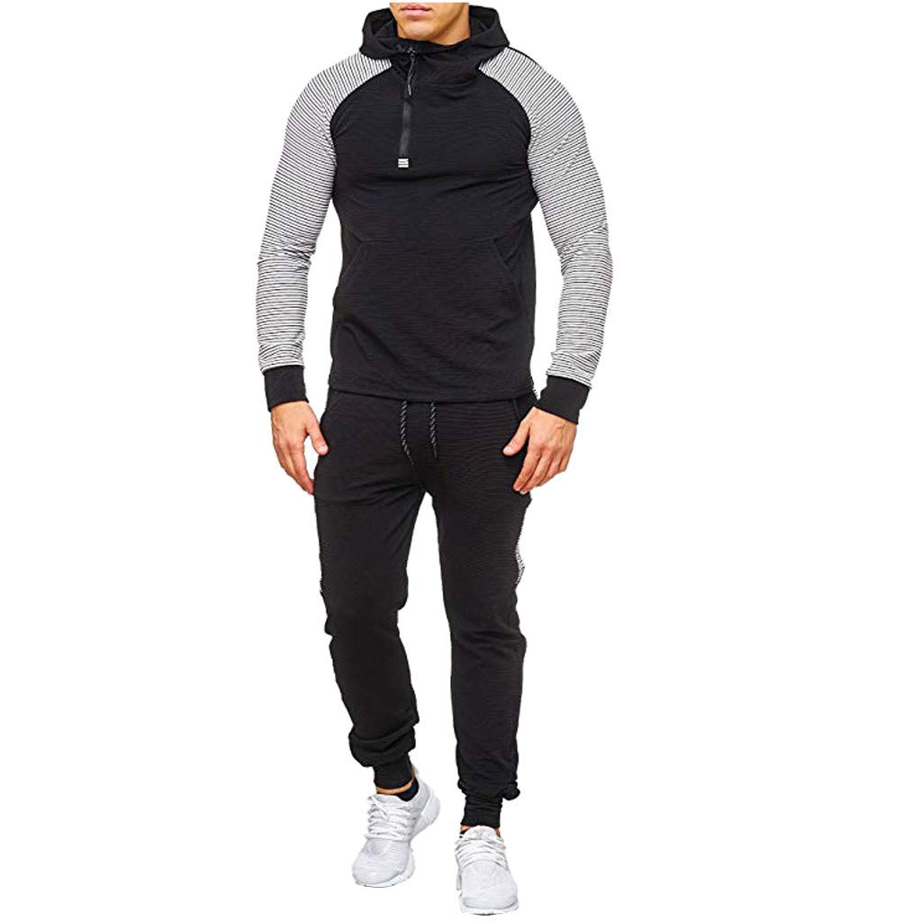 Mens Track Suits 2 Piece Lightweight Raglan Pullover Hoodie Sweatshirts Stretch Striped Patchwork Jogging Sweatpants Set Fall Winter Casual Workout Running Activewear by Armfre Two-Piece-Outfit