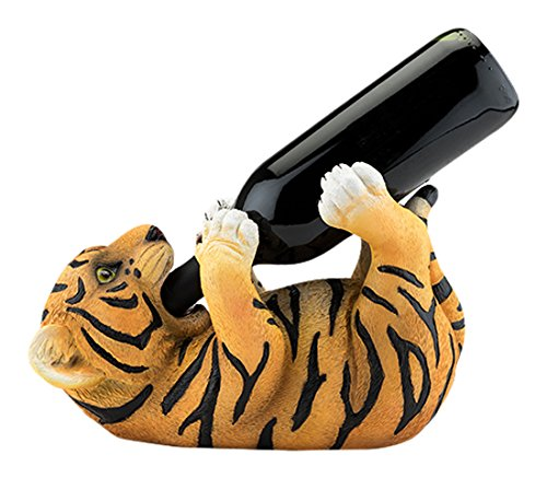 Polyresin Tipsy Tiger Wine Bottle Holder by True (Wine Bottle Tiger Holder)