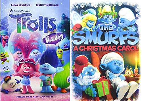 Critter Christmas Animated Holiday Trolls + The Smurfs Christmas Carol Merry & Bright Double Feature Cartoon Movie 2-Pack
