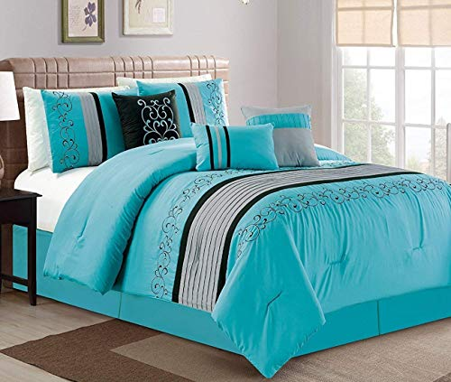 JBFF Modern 7 Piece Oversize Embroidered Comforter Set Bedding with Accent Pillows (Turquoise, Queen)