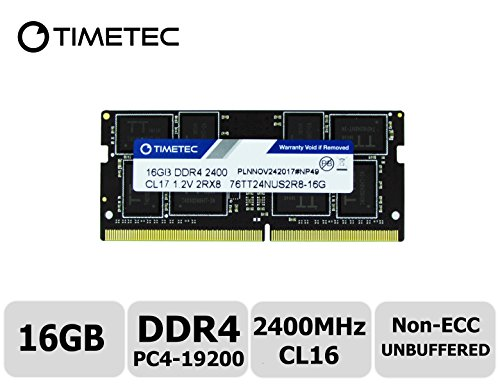 Timetec Hynix IC 16GB DDR4 2400MHz PC4-19200 Non ECC Unbuffered 1.2V CL17 2Rx8 Dual Rank 260 Pin SODIMM Laptop Notebook Computer Memory Ram Module Upgrade (16GB) - Non Ecc Unbuffered Sodimm Memory