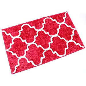 "Kitchen Mat, U'Artlines Decorative Non-slip Microfiber Doormat Bathroom Mats Shower Rugs for Living Room Floor Mats Special Design (21×34"", Rose red)"
