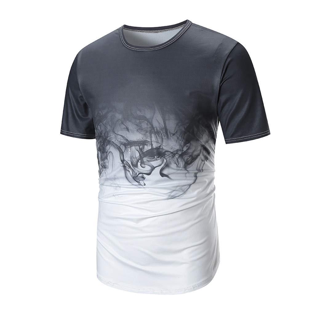 Kulywon Mens Shirts Men Summer Casual Print O Neck Pullover Short Sleeve T-Shirt Top Blouse