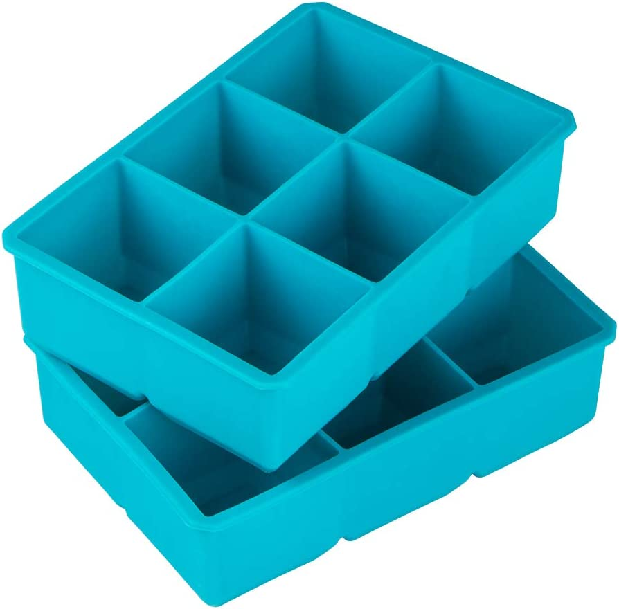 Webake 2 Inch Large Ice Cube Trays, Flexible Silicone Ice Cube Tray for Whiskey, Cocktails and Treats, BPA Free, Pack of 2