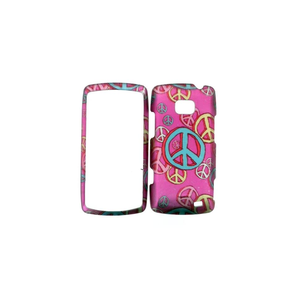 LG ALLY VS740 HARD PLASTIC COVER CASE PROTECTOR PERFECT FIT PEACE SIGNS