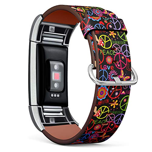 - Replacement Leather Strap Printing Wristbands Compatible with Fitbit Charge 2 - Hippie Style Peace Sign on Floral Pattern
