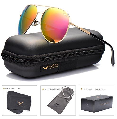 LUENX Aviator Sunglasses for Women Men Polarized Mirrored Dark Rose Red Lens Gold Metal Frame Large 60mm