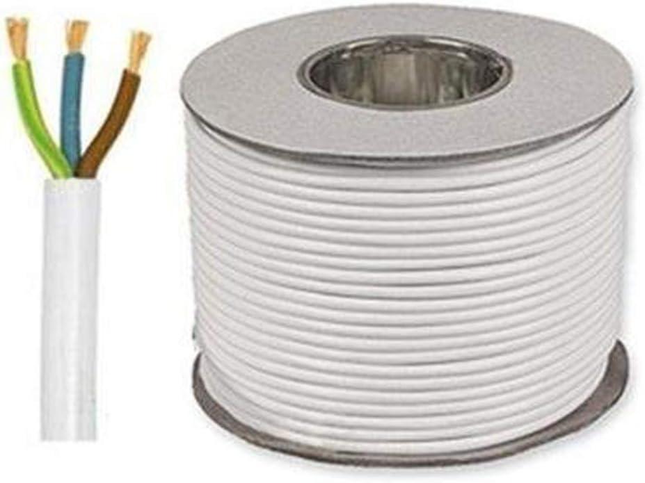 White 3183Y 3 Core 0.75mm 6 Amp PVC Flexible Cable Cut To Length Flex 25 Meters