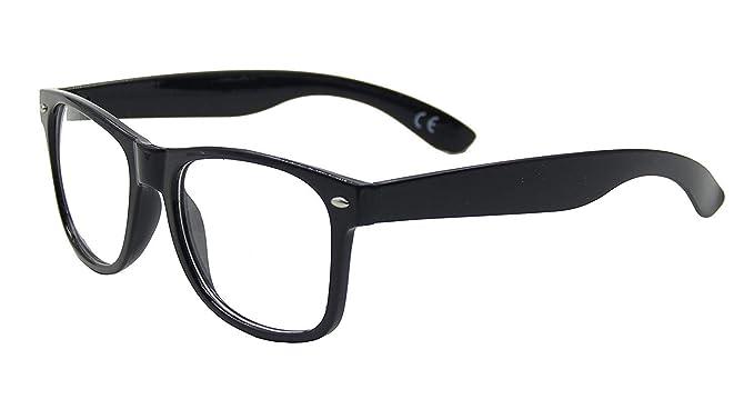 1af9f9a12e Lentilles Transparentes Geek Unisexe Rétro Lunettes Wayfarer, Noir Brillant  Monture, Complet Protection UV: Amazon.fr: Vêtements et accessoires