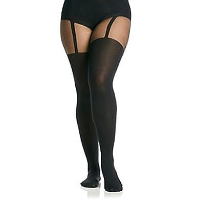 b0f5572fc40 Plus Size Mock Stocking Suspender Black Tights (XLarge)  Amazon.co.uk   Clothing