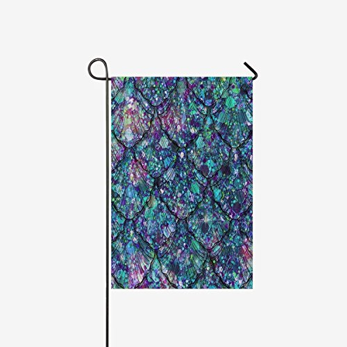 Mermaid Tails and Scales in Glitter Jewel Style Garden Flag Decorative for Garden and Home Decorations, Polyester House Banner 28 x 40 Inches (Without Flagpole) ()