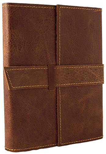 Distressed Leather Buckle (Rustic Ridge Refillable Distressed Leather Travel Journal with Handmade Paper - 6