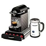 Nespresso Pixie C60 Electric Titan Espresso Machine with Bonus Aeroccino Plus and Bonus 50 Capsule Storage Drawer