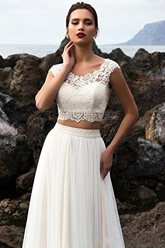 Neck DMDRS Ivory Two Wedding Lace Dreamdress Scoop Dresses Garden Women's Tulle Pieces x7x8wU4q