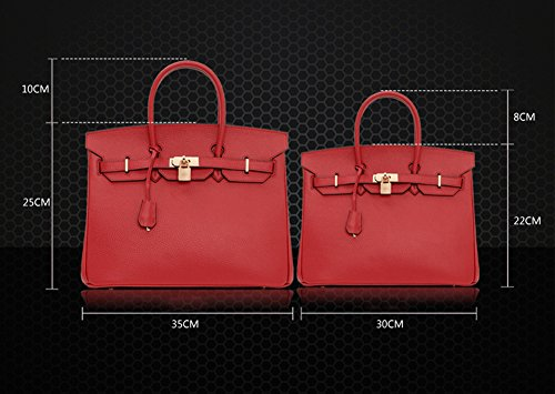Mc 35CM Grey 1329 Leather Classic American Padlock Handle European Handbags Macton Top Red and Genuine O7xvppq