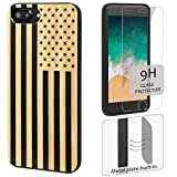 wood iphone 6 case made in usa - iProductsUS Wood Phone Case Compatible with iPhone 8,7,6/6S (NOT Plus) and Screen Protector-Black Bamboo Cases Engraved US Flag, Built-in Metal Plate, TPU Rubber Shockproof & Protective Covers (4.7)
