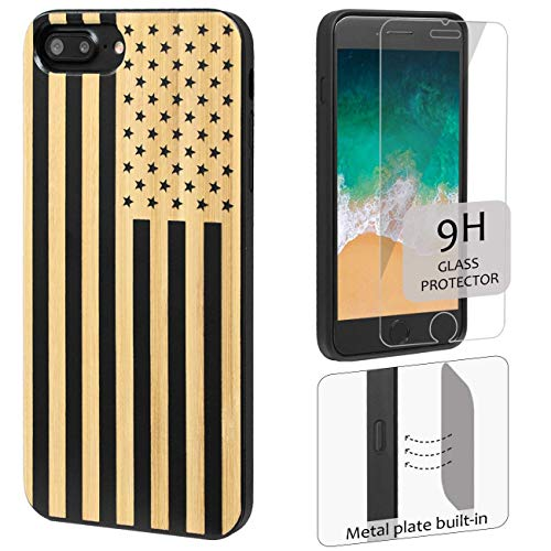iProductsUS Wood Phone Case Compatible with iPhone 8Plus, 7Plus, 6Plus, 6s Plus and Screen Protector-Black Bamboo Cases Engrave US Flag,Built-in Metal Plate,TPU Protective Shockproof Cover (5.5