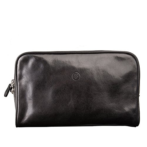 Maxwell Scott Luxury Black Leather Men's Dopp Kit (Raffaelle) by Maxwell Scott Bags