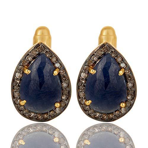Pave Diamond Blue Sapphire Gemstone Cufflink 925 Silver Jewelry