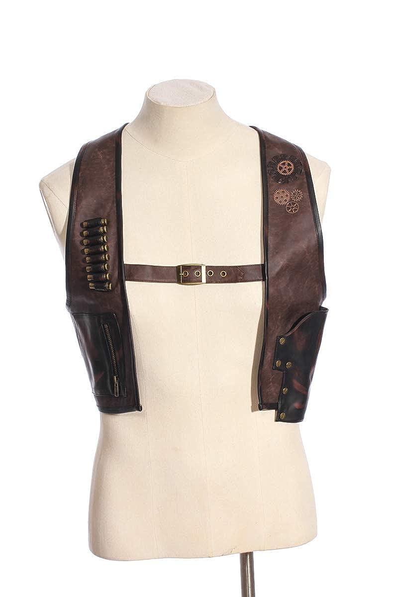HaoLin Steampunk Men Waistcoat Goth Vest Faux Leather Jacket Duster Coat Brown Costume