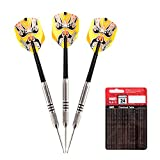 ONE80 24 Gram 90% Tungsten Professional Steel Tip Darts Set with Checkout Card, Beijing Opera Face