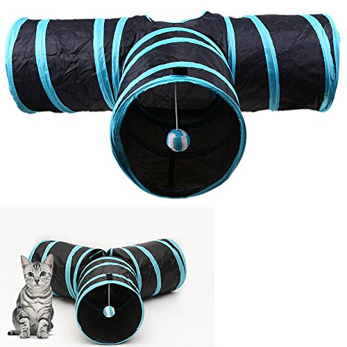 LANDGOO Collapsible Cat Tunnel 3 Way Crinkle Pop Up Tube Foldable Play Toys for Rabbits Kittens Dogs Puppy by LANDGOO