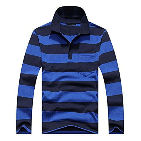pqdaysun Men's Long Sleeve Casual Stripe Polo Shirts Cotton T Shirt With Pocket Style 7 US S