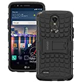 LG Stylo 3 Plus Case, OEAGO [Shockproof] [Impact Protection] Tough Rugged Dual Layer Protective Case with Kickstand for LG Stylo 3 Plus - Black