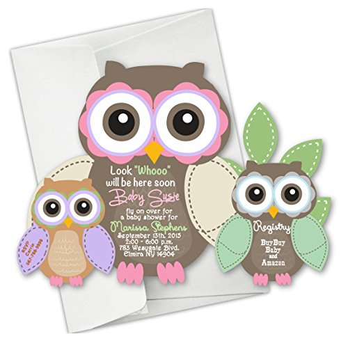 Owl Baby Shower Invitations First Birthday Invitation Die Cut Invites Fall set of 25