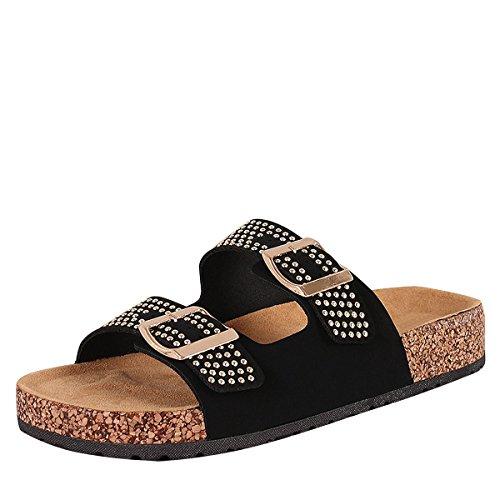 BAMBOO Womens Open Toe Double Buckle Studded Accent Slide Cork Flat Flip Flops Sandal Shoe 9 ()