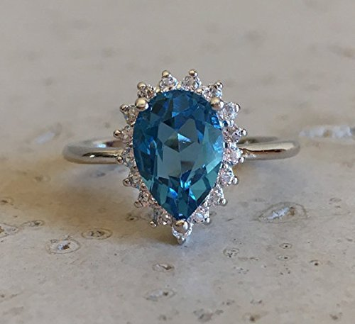 Blue Topaz Engagement Ring- Halo Engagement Ring- Blue Engagement Ring- December Birthstone Ring- Blue Promise Ring- Nontraditional Engagement Ring by Belesas