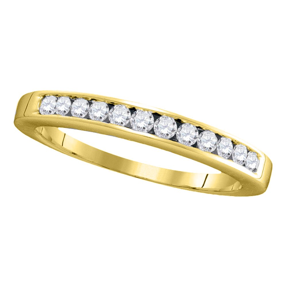 14kt Yellow Gold Womens Round Channel-set Diamond Single Row Wedding Band 1/4 Cttw - Size 9