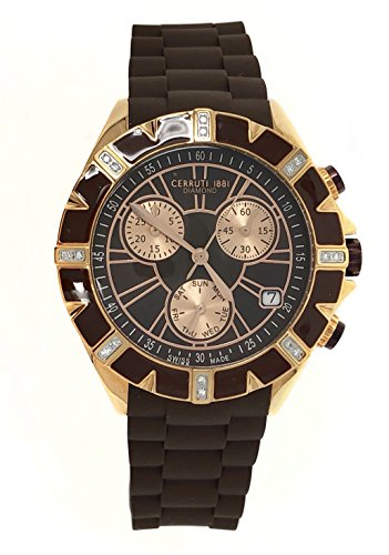 Cerruti 1881 Ladies Chronograph Watch Brown Rose Gold Tone with Silicon Strap Diamond CRWPDM031S235Q