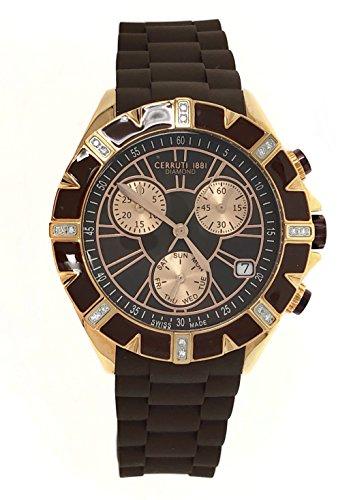 Cerruti 1881 Ladies Chronograph Watch Brown Rose Gold Tone with Silicon Strap Diamond CRWPDM031S235Q