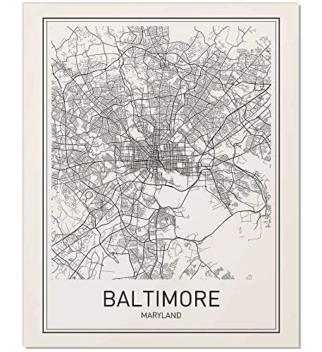 Baltimore Poster, Baltimore Map, Map of Baltimore, Minimalist Poster, City Map Posters, Baltimore Maryland Map, Black and White, Map Wall Art, Map Art, Scandinavian Poster, 8x10