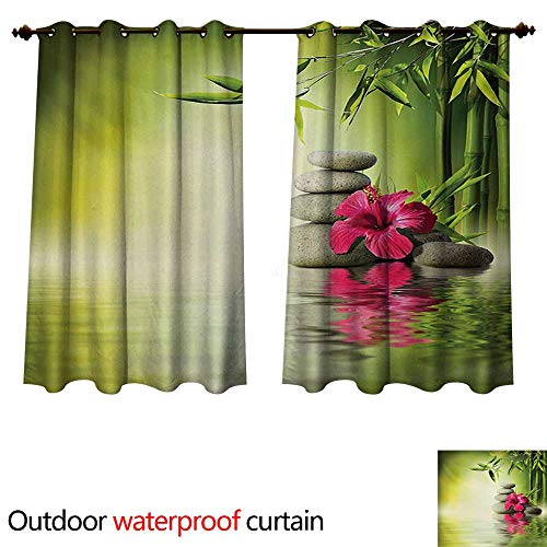 (WilliamsDecor Spa Outdoor Balcony Privacy Curtain Stones and Bamboo Leaves on The Water Pool Meditation Freshness Relaxing Theme W55 x L45(140cm x 115cm))