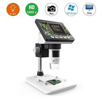 Microscopio Digital 1000X LCD, Lupa de Alta definición Bysameyee de 4.3 Pulgadas con Captura de