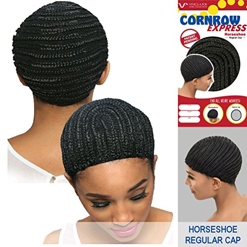 [Vivica A. Fox - CORNROW EXPRESS CAP - Horseshoe-SMALL Mesh Weave Cap in OFF BLACK] (Cornrow Wigs)
