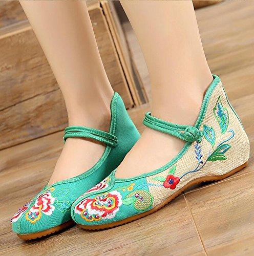 Stile Folk Scarpe È Ricamati Delle Scarpe In Peonia Strass Fiore KHSKX green Aumentato Mano Cinesi Di Donne A Scarpe Femmina Fatte Scarpe TxvH6U