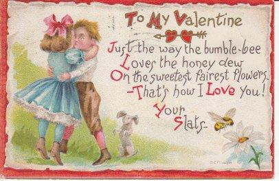 Vintage Valentine Postcard Boy Girl Kissing Bunny Rabbit Bumble Bee (Postcard Vintage Rabbit)