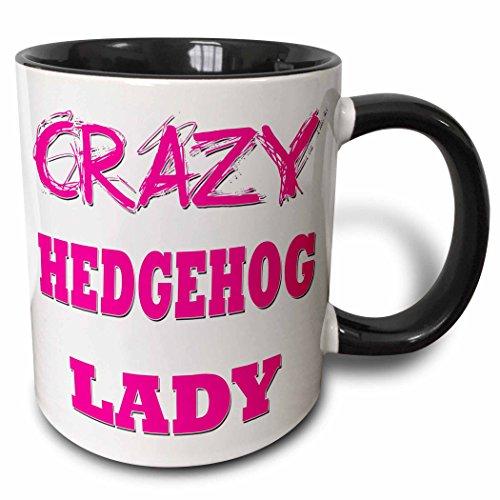 3dRose Crazy Hedgehog Lady Two Tone Black Mug, 11 oz, Black/White ()