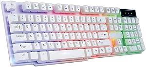 104 Keys Lighting Gaming Keyboard USB Wired Keyboard, Besde R260 Colorful Backlit Gaming Keyboard CF LOL Spill-Resistant Keyboard, Ultra-Slim Rainbow LED Backlit Keyboard for Desktop, Computer (White)