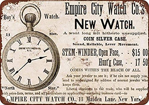 Empire City Watches Carteles de Chapa Póster de Pared Hojalata Vintage Hierro Pintura Retro Metal Placa Arte Decoración…